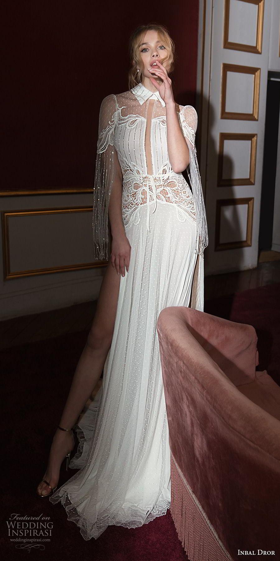 inba dror fall 2018 bridal long hanging sleeves collar neck light embellishment double slit skirt a  line wedding dress open back chapel train (3) mv