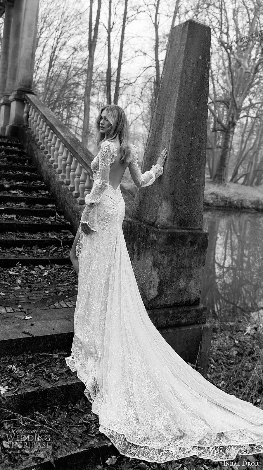 inba dror fall 2018 bridal long poet sleeves deep v neck full embellishment double slit skirt romantic sexy a  line wedding dress open back chapel train (14) bv