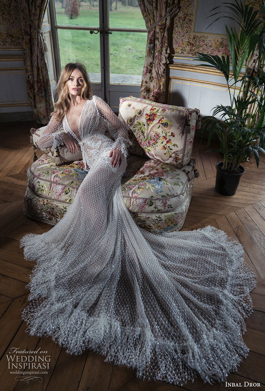 inba dror fall 2018 bridal long poet sleeves deep v neck full embellishment elegant sexy fit and flare wedding dress chapel train (11) mv