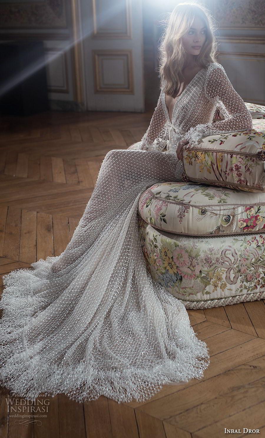 inba dror fall 2018 bridal long poet sleeves deep v neck full embellishment elegant sexy fit and flare wedding dress chapel train (11) sdv
