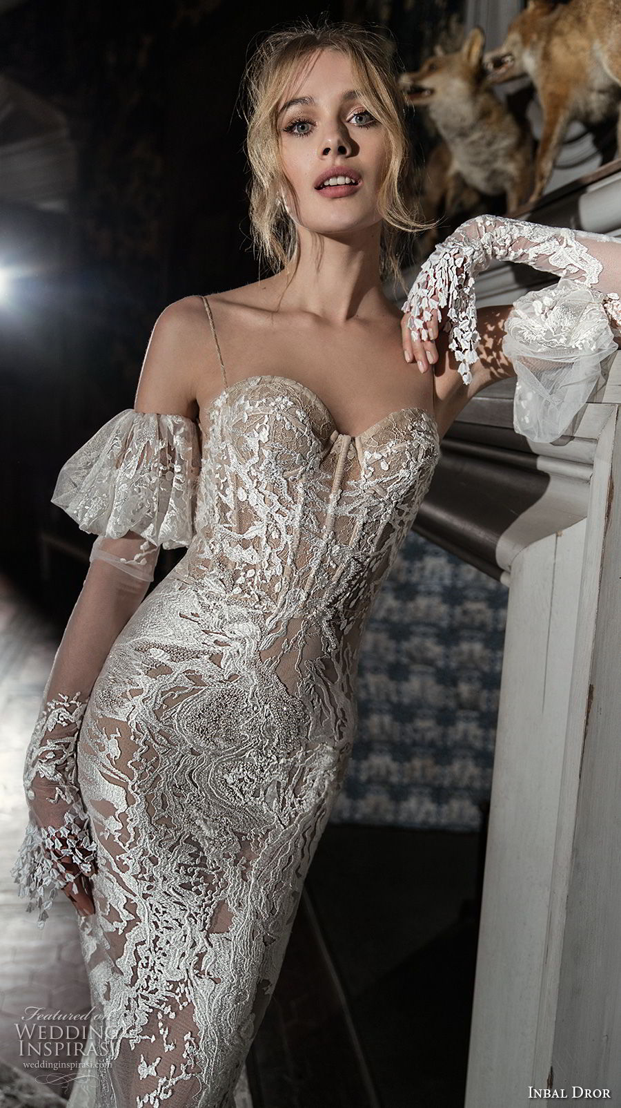 inba dror fall 2018 bridal long sleeves cold shoulder spaghetti strap sweetheart neckline full embellishment glamorous fit and flare wedding dress open back chapel train (7) mv