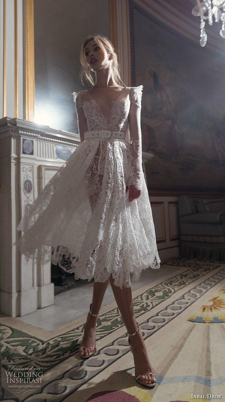 inba dror fall 2018 bridal long sleeves deep v neck full embellishment romantic tea length short wedding dress open v back (5) mv