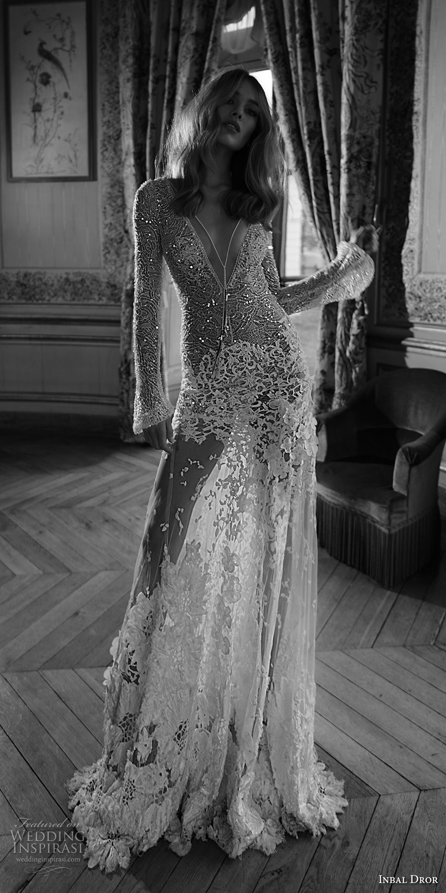 inba dror fall 2018 bridal long sleeves deep v neck full embellishment sexy modified a  line wedding dress open back chapel train (4) mv