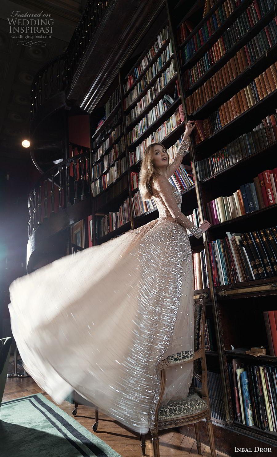 inba dror fall 2018 bridal long sleeves deep v neck heavily embellished bodice glamorous sexy nude color a  line wedding dress sheer back chapel train (2)  sdv