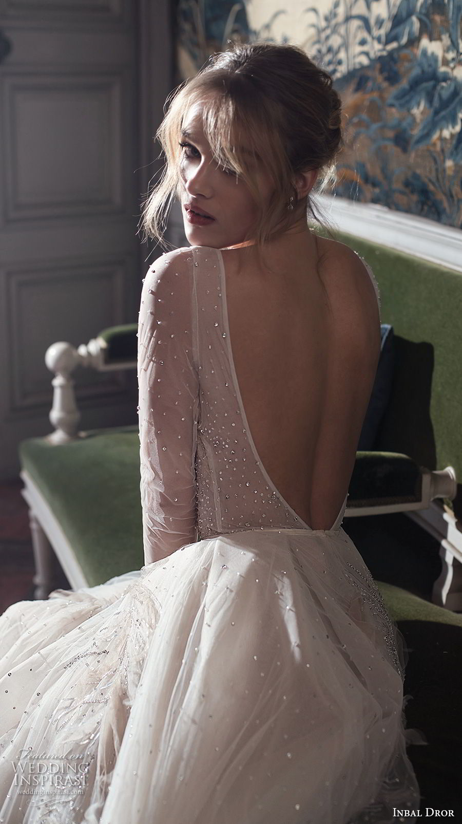 inba dror fall 2018 bridal long sleeves deep v neck heavily embellished bodice tulle skir romantic a  line wedding dress open back chapel train (2) bv