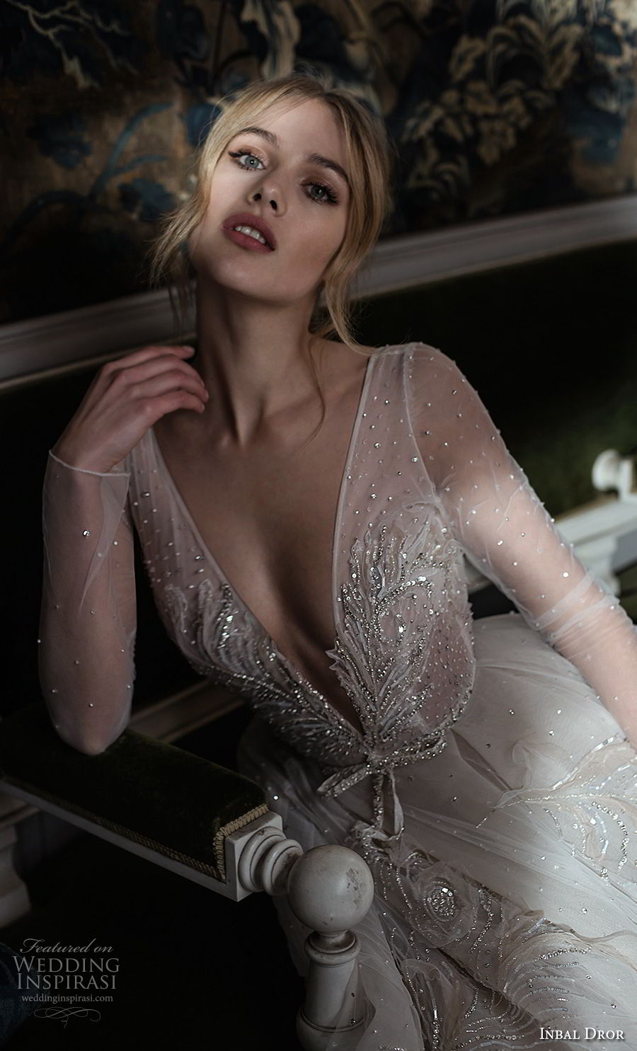 inba dror fall 2018 bridal long sleeves deep v neck heavily embellished bodice tulle skir romantic a  line wedding dress open back chapel train (2) zv