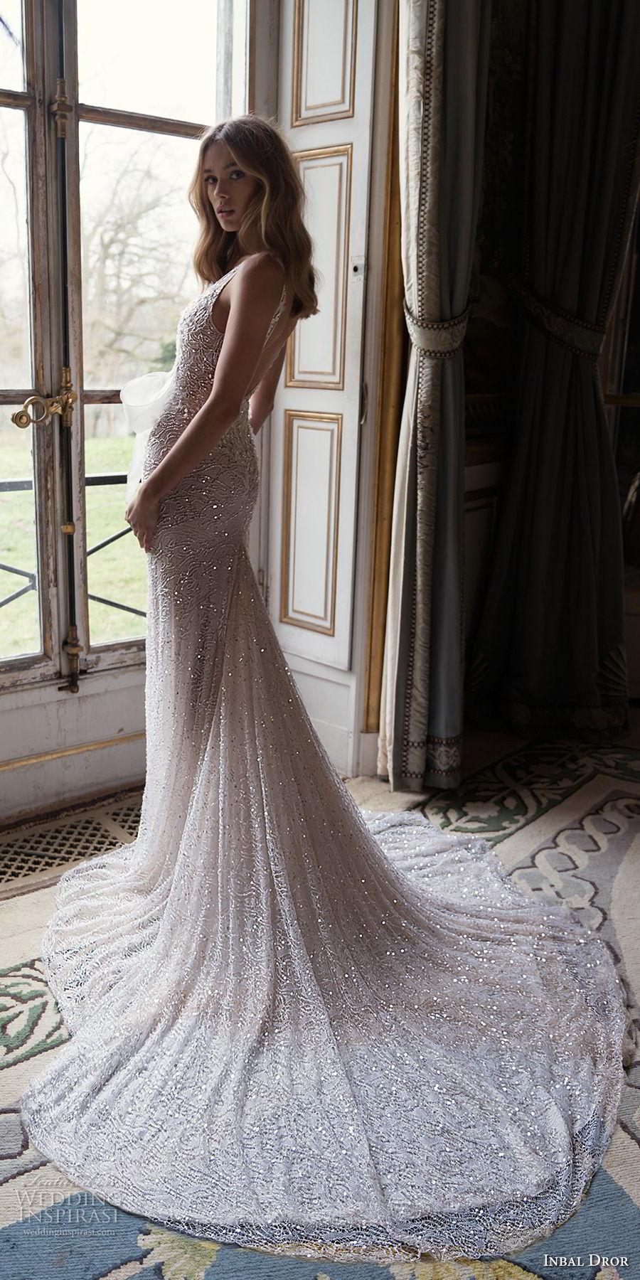 inba dror fall 2018 bridal sleeveless deep v neck full embellishment ribbon front romantic sexy fit and flare wedding dress open back chapel train (1) bv