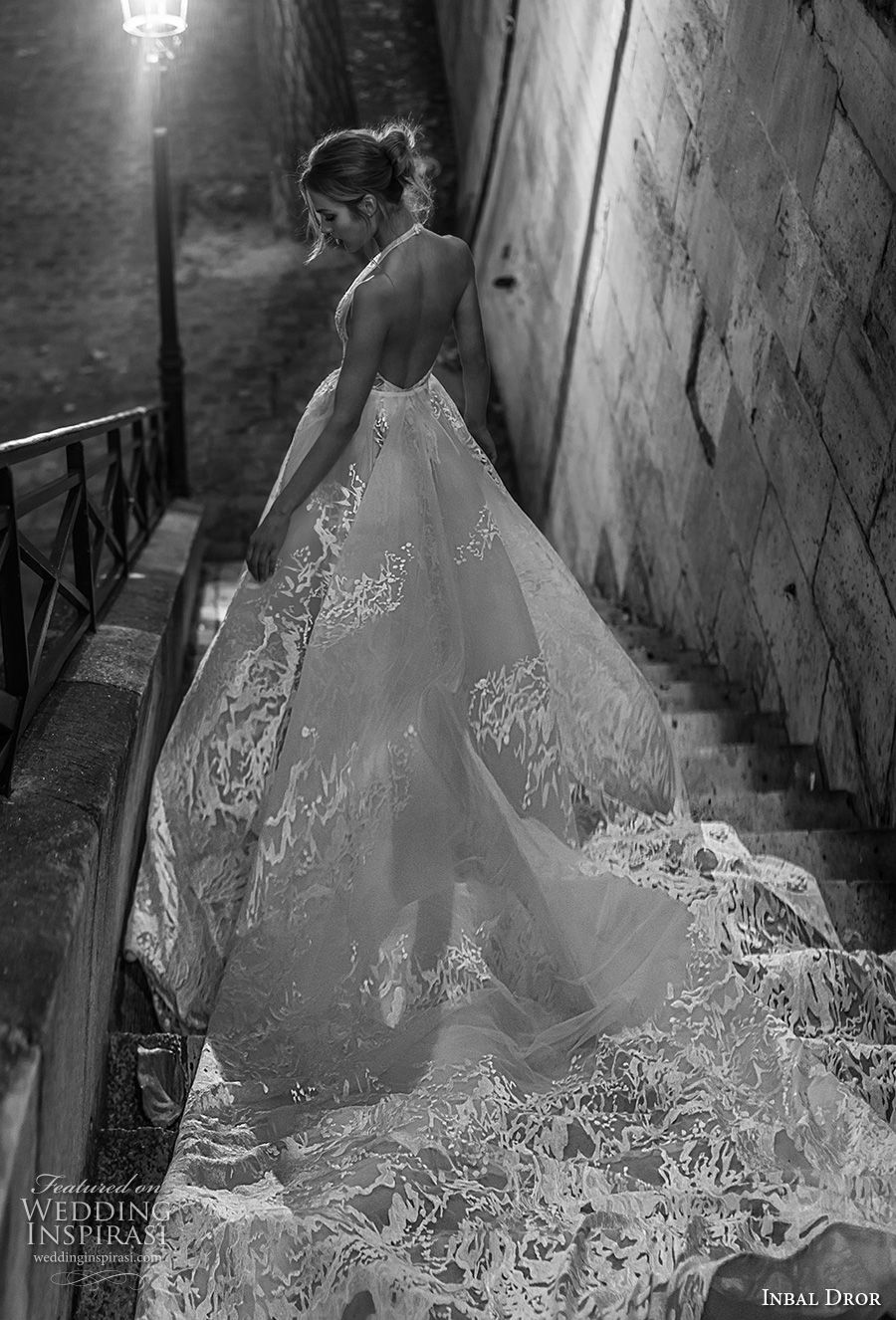 inba dror fall 2018 bridal sleeveless halter v neck full embellishment romantic ball gown a  line wedding dress open back royal train (10) bv