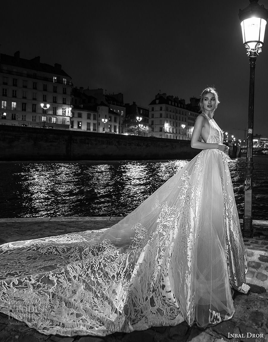 inba dror fall 2018 bridal sleeveless halter v neck full embellishment romantic ball gown a  line wedding dress open back royal train (10) mv