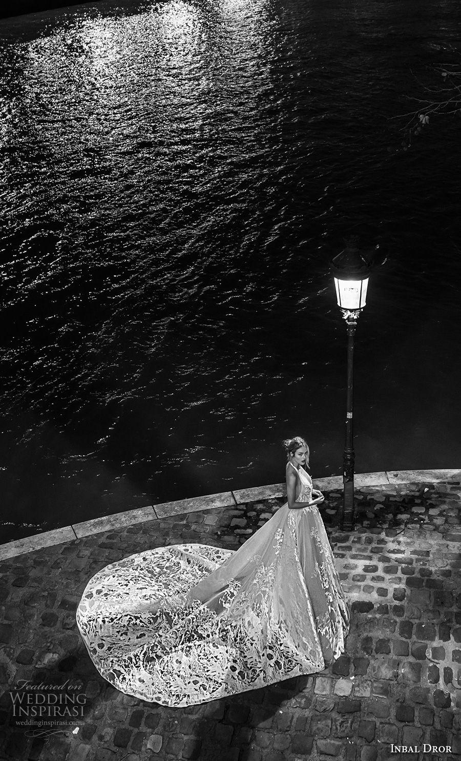 inba dror fall 2018 bridal sleeveless halter v neck full embellishment romantic ball gown a  line wedding dress open back royal train (10) sdv