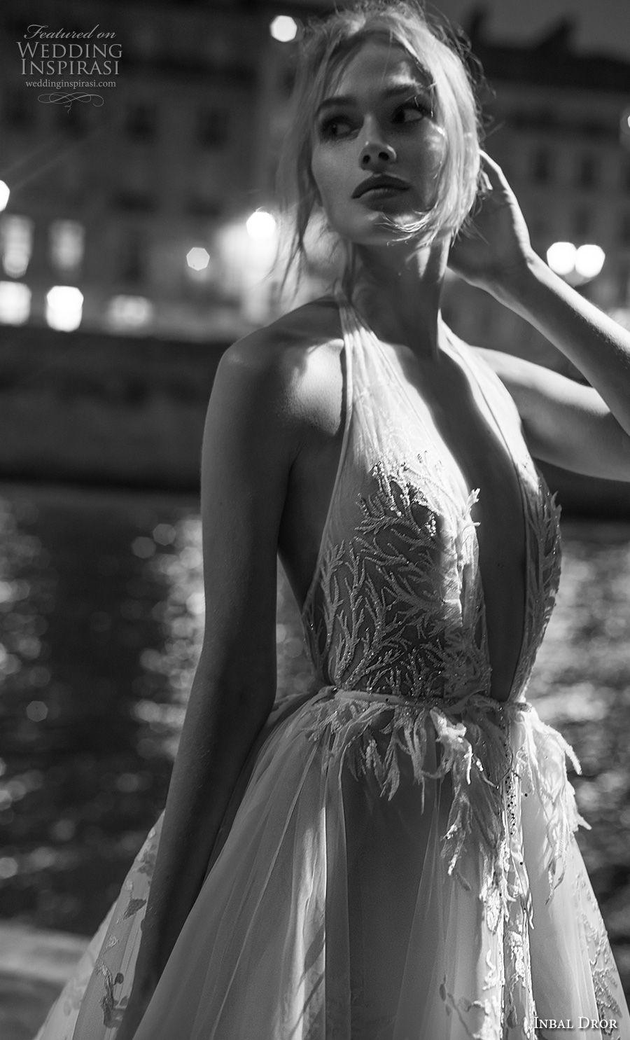inba dror fall 2018 bridal sleeveless halter v neck full embellishment romantic ball gown a  line wedding dress open back royal train (10) zv