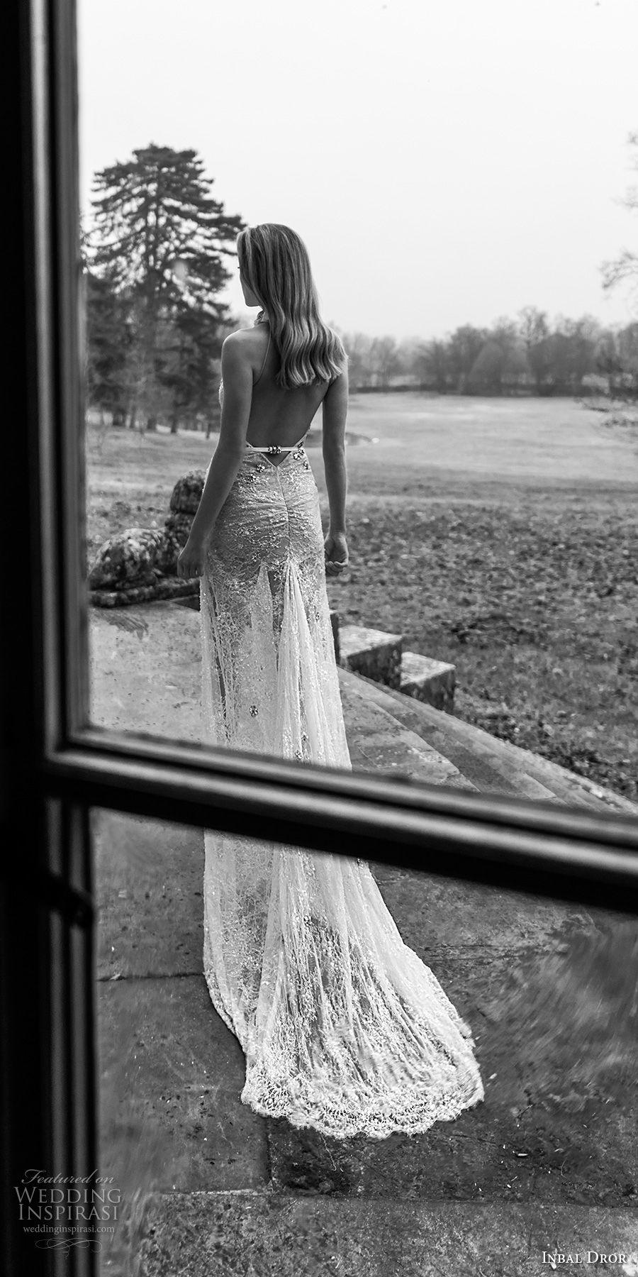 inba dror fall 2018 bridal sleeveless sheer halter sweetheart neck full embellishment high slit skirt elegant sheath wedding dress open back chapel train (6) bv