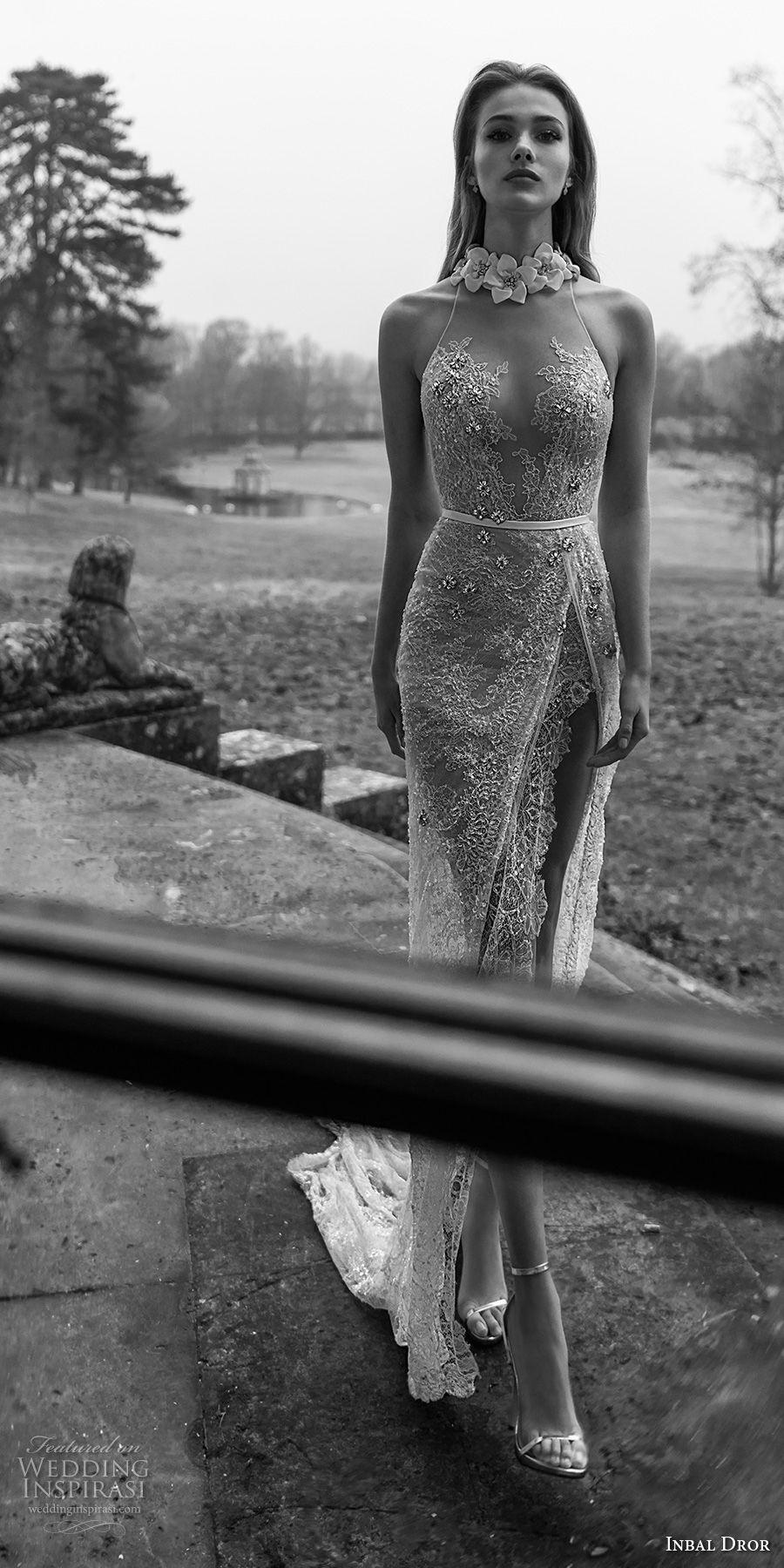 inba dror fall 2018 bridal sleeveless sheer halter sweetheart neck full embellishment high slit skirt elegant sheath wedding dress open back chapel train (6) mv