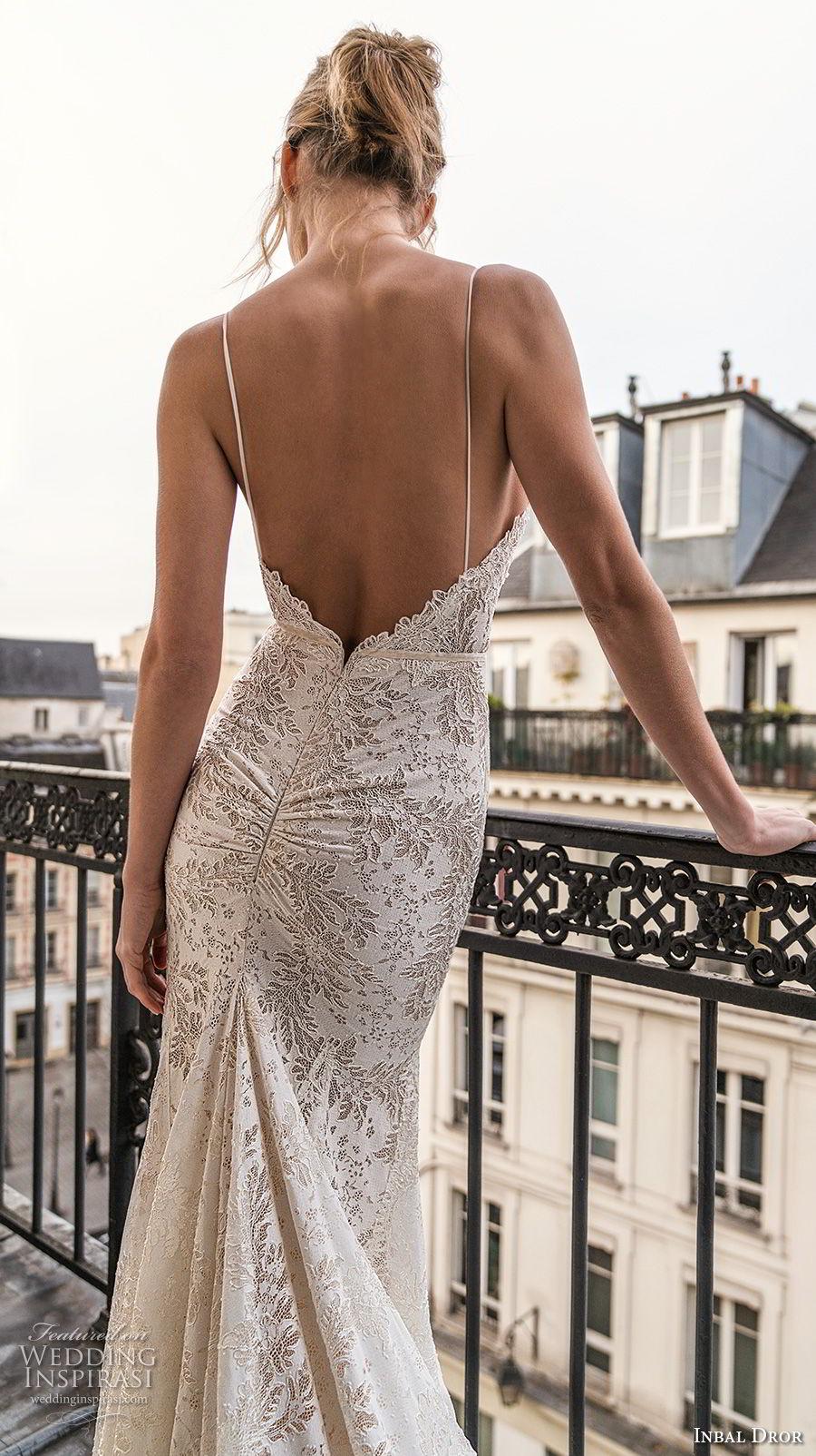 inba dror fall 2018 bridal sleeveless spaghetti strap deep v neck full embellishment elegant mermaid wedding dress with pockets open back sweep train (12) zbv