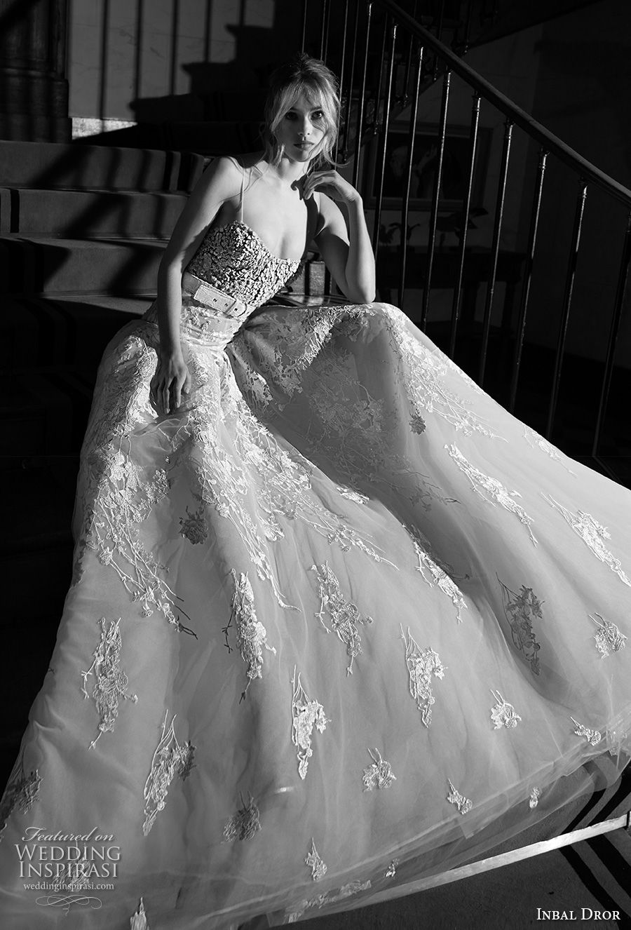 inba dror fall 2018 bridal spaghetti strap semi sweetheart neckline heavily embellished bodice romantic a  line wedding dress chapel train (15) mv