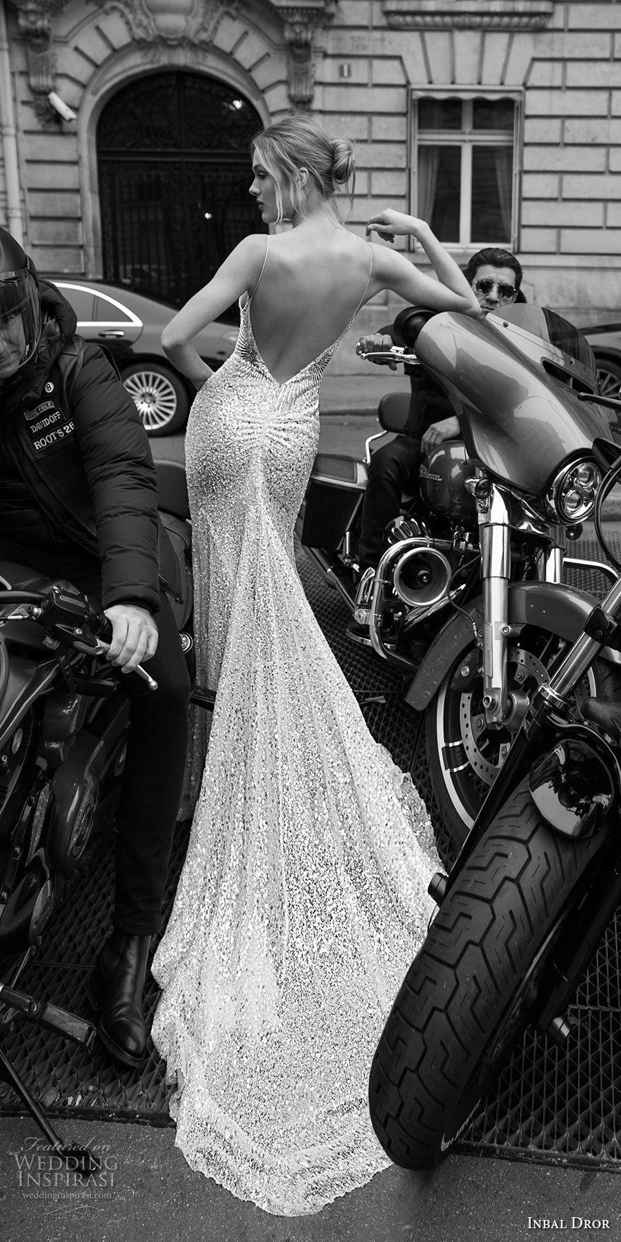 inba dror fall 2018 bridal spaghetti strap sweetheart neckline full embellishment glamorous fit and flare sheath wedding dress open v back sweep train (16) bv