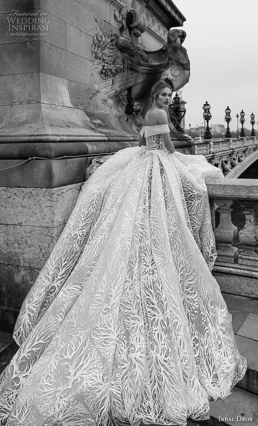 inba dror fall 2018 bridal strapless off the shoulder sweetheart neckline full embellishment romantic a  line wedding dress royal train (13) bv
