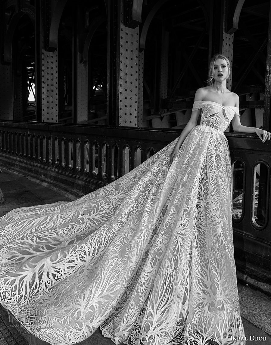 inba dror fall 2018 bridal strapless off the shoulder sweetheart neckline full embellishment romantic a  line wedding dress royal train (13) mv