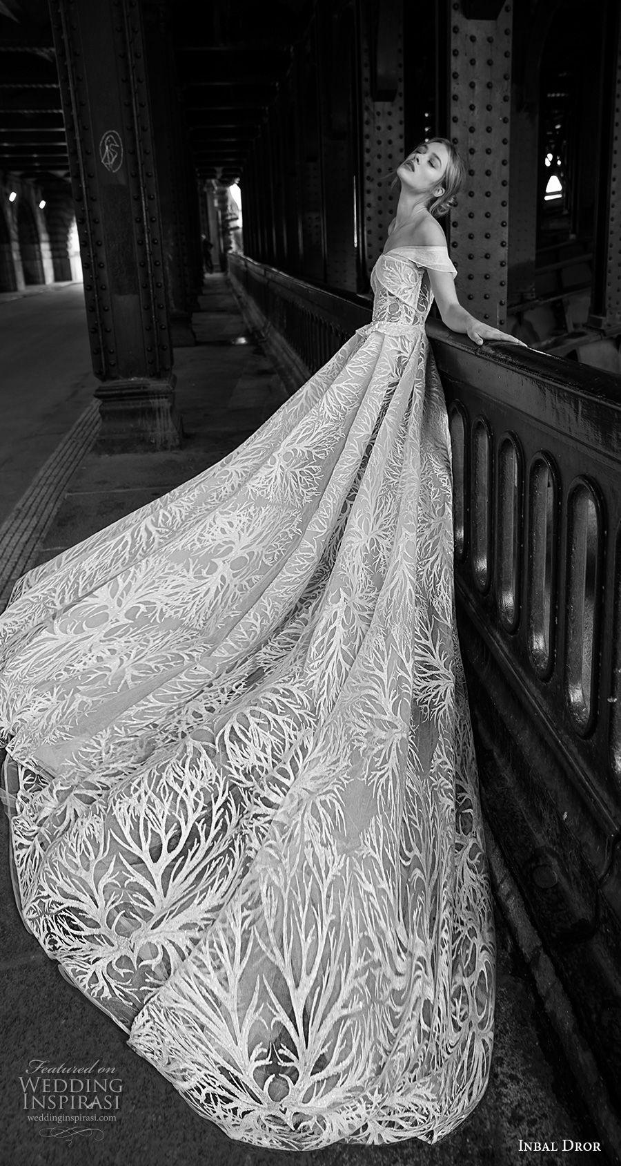 inba dror fall 2018 bridal strapless off the shoulder sweetheart neckline full embellishment romantic a  line wedding dress royal train (13) sdv