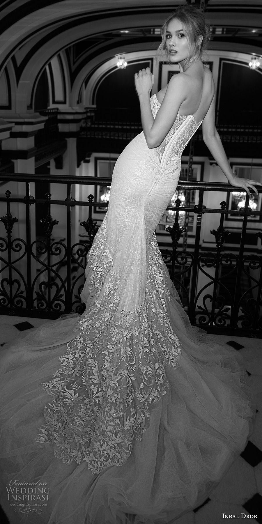 inba dror fall 2018 bridal strapless sweetheart neckline full embellishment bustier elegant sexy mermaid wedding dress chapel train (18) bv