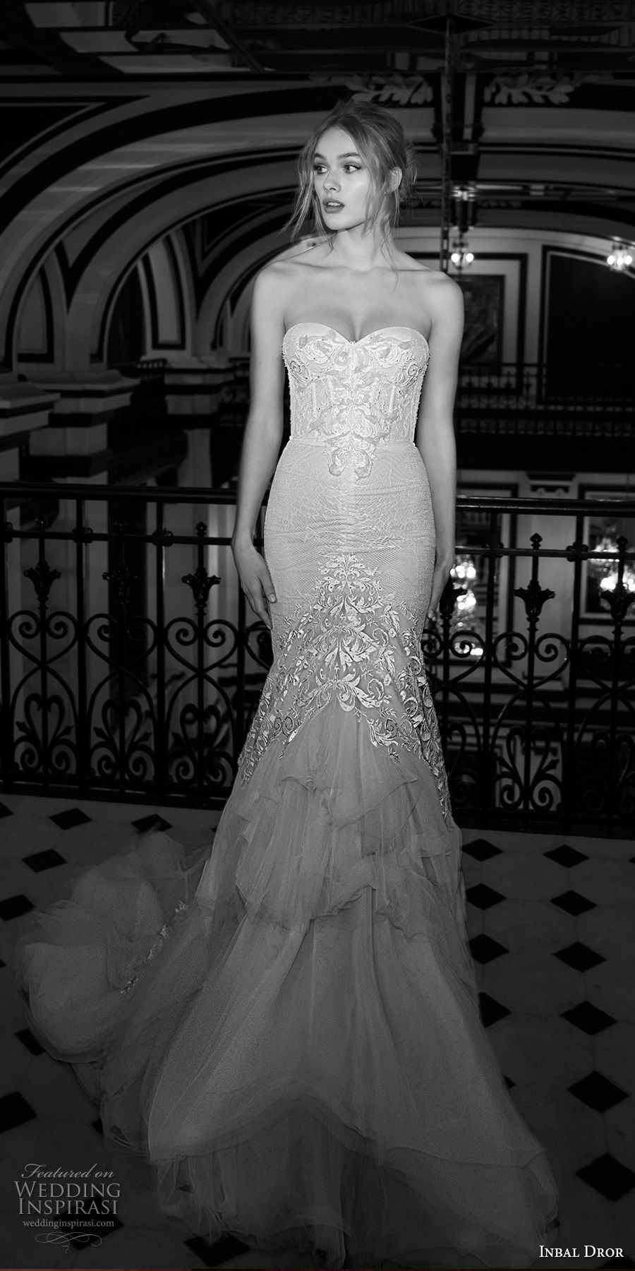 inba dror fall 2018 bridal strapless sweetheart neckline full embellishment bustier elegant sexy mermaid wedding dress chapel train (18) mv