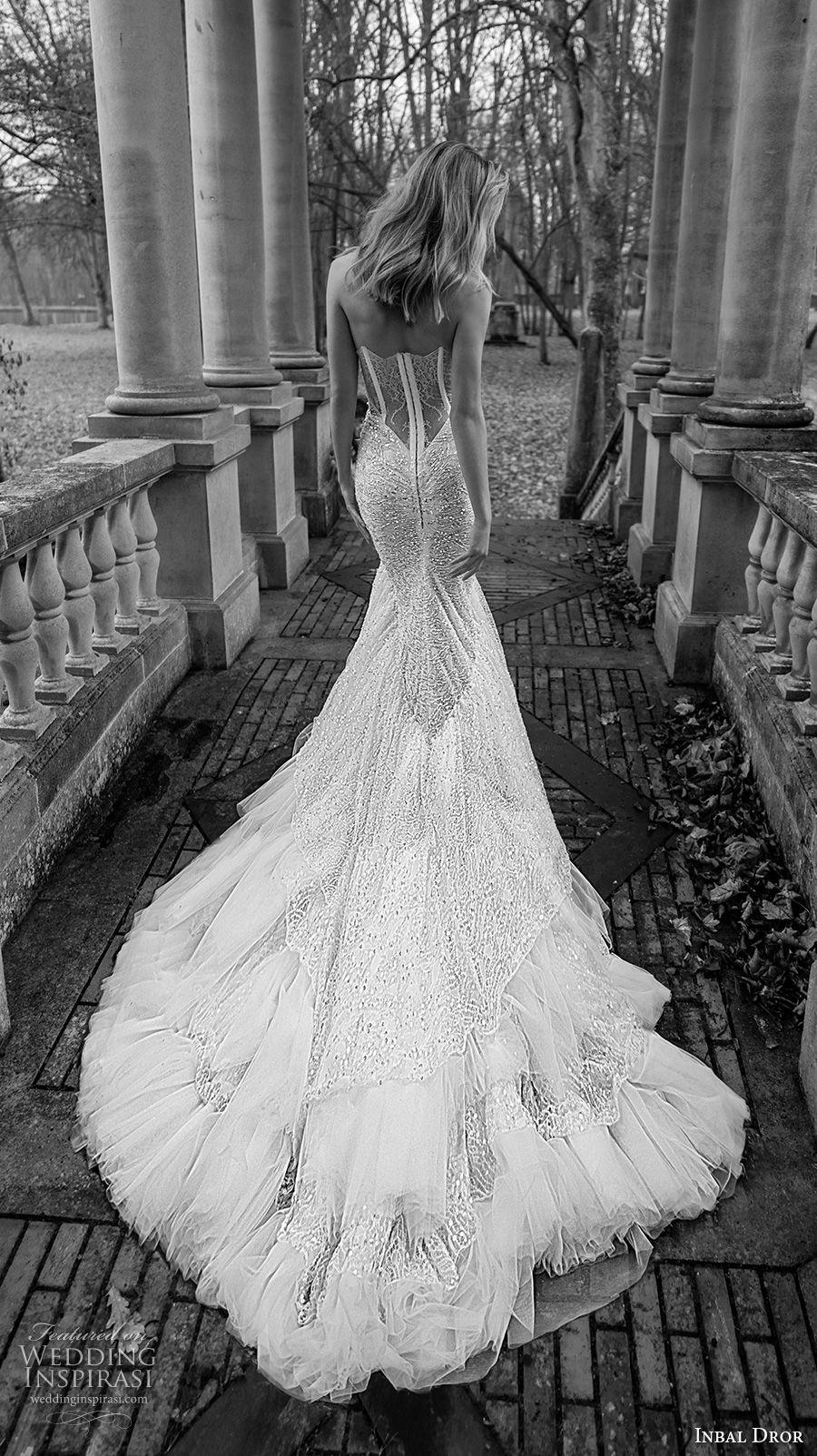 inba dror fall 2018 bridal strapless sweetheart neckline full embellishment elegant mermaid wedding dress chapel train (8) bv