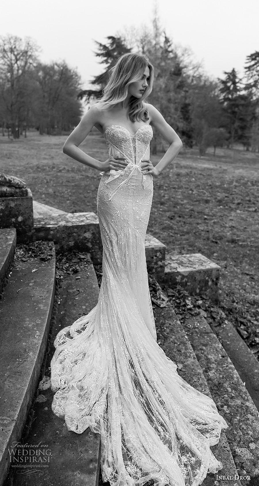 inba dror fall 2018 bridal strapless sweetheart neckline full embellishment elegant sexy fit and flare sheath wedding dress open back chapel train (9) mv