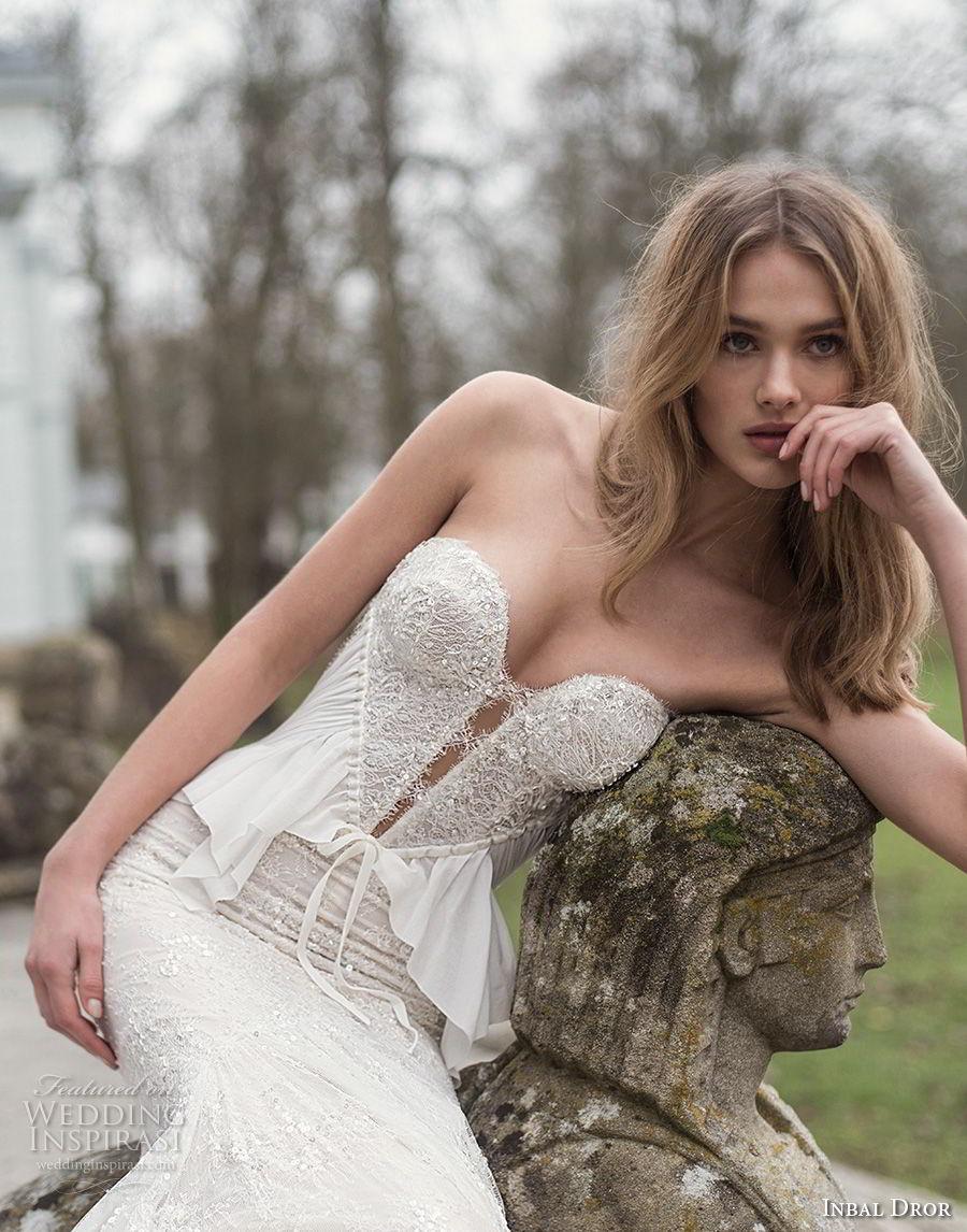 inba dror fall 2018 bridal strapless sweetheart neckline full embellishment elegant sexy fit and flare sheath wedding dress open back chapel train (9) zv