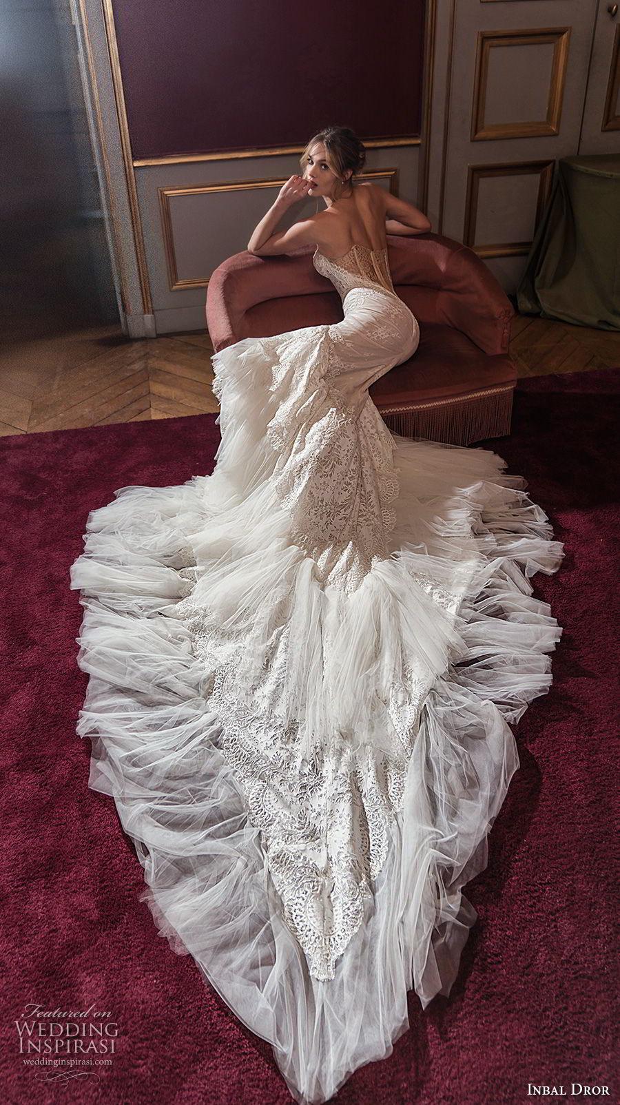 inba dror fall 2018 bridal strapless sweetheart neckline full embellishment elegant trumpet wedding dress chapel train (17) bv