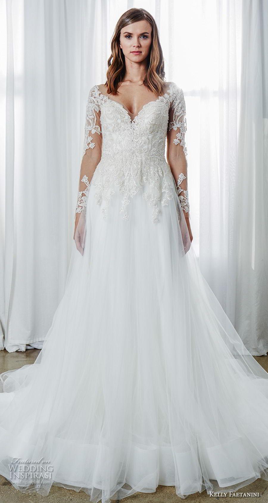 Kelly Faetanini Spring 2019 Bridal Long Sleeves Sweetheart Neckline Full Embellishment A Line Wedding Dress