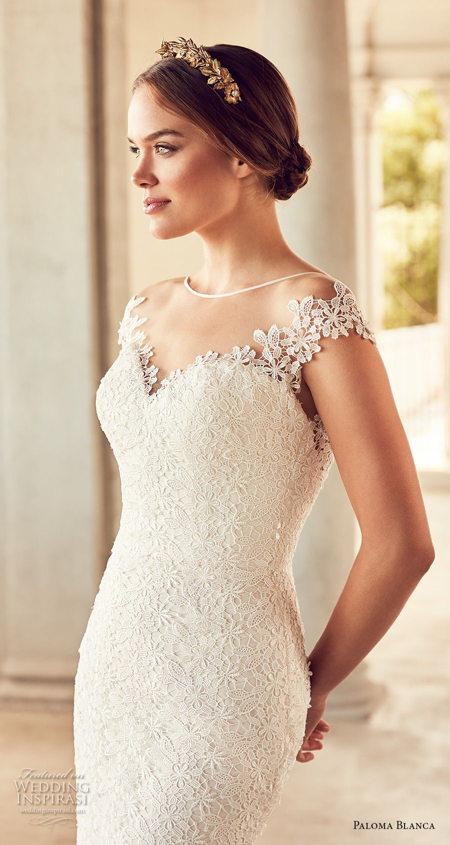 paloma blanca spring 2018 bridal cap sleeves illusion bateau sweetheart neckline full embellishment elegant sheath fit and flare wedding dress open v back chapel train (3) zv