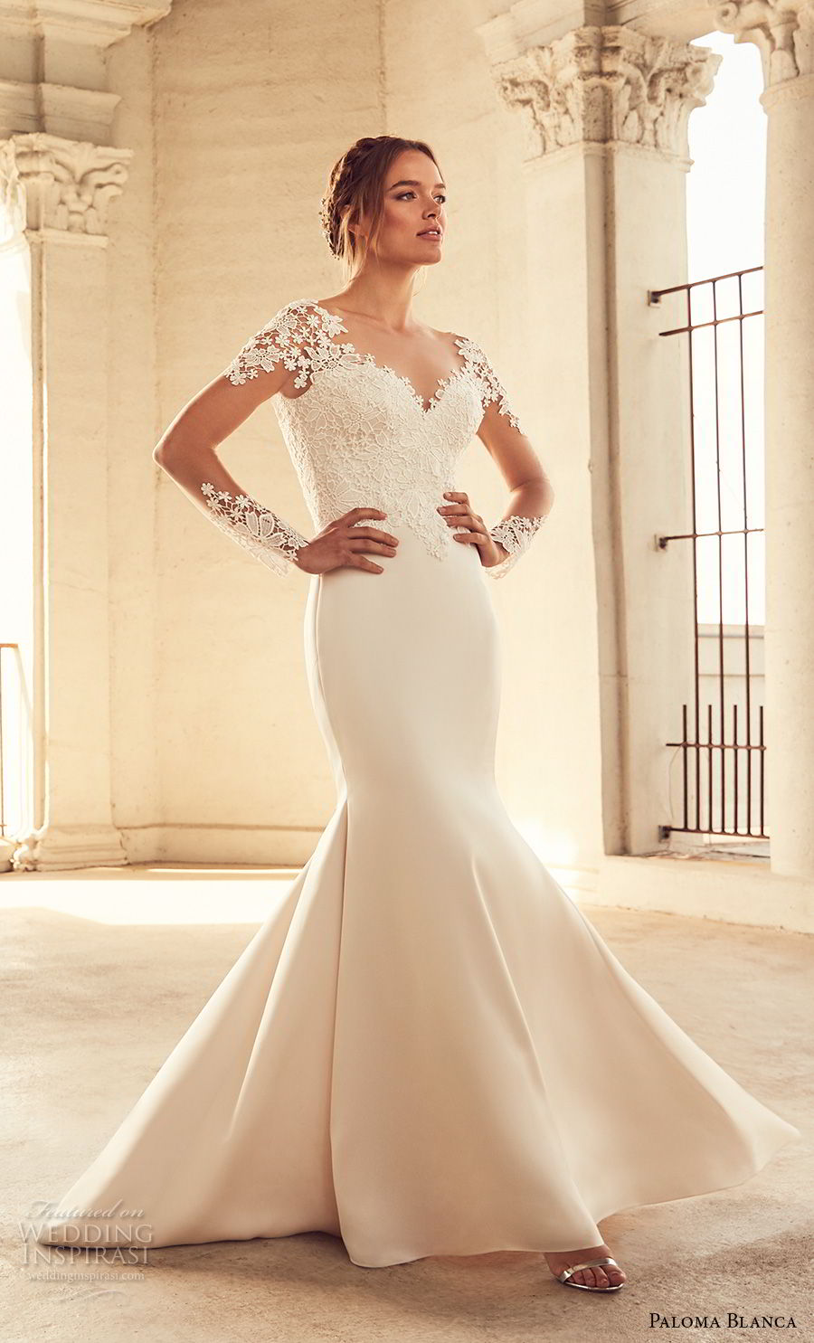 paloma blanca spring 2018 bridal long sleeves sweetheart neckline heavily embellished bodice elegant mermaid wedding dress v back chapel train (8) mv