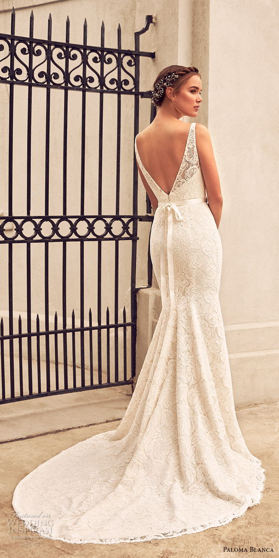 paloma blanca spring 2018 bridal sleeveless illusion bateau sweetheart neckline full embellishment side slit fit and flare wedding dress v back chapel train (15) bv