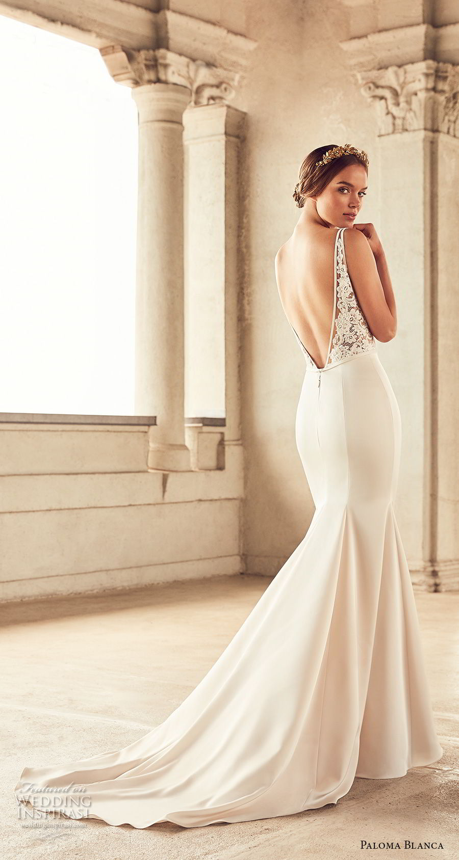 paloma blanca spring 2018 bridal sleeveless v neck heavily embellished bodice mermaid wedding dress open v back chapel train (16) bv