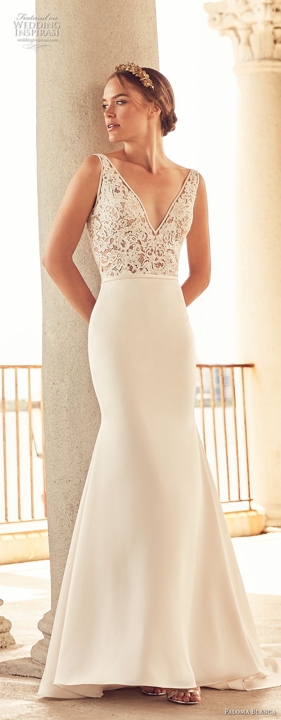 paloma blanca spring 2018 bridal sleeveless v neck heavily embellished bodice mermaid wedding dress open v back chapel train (16) mv