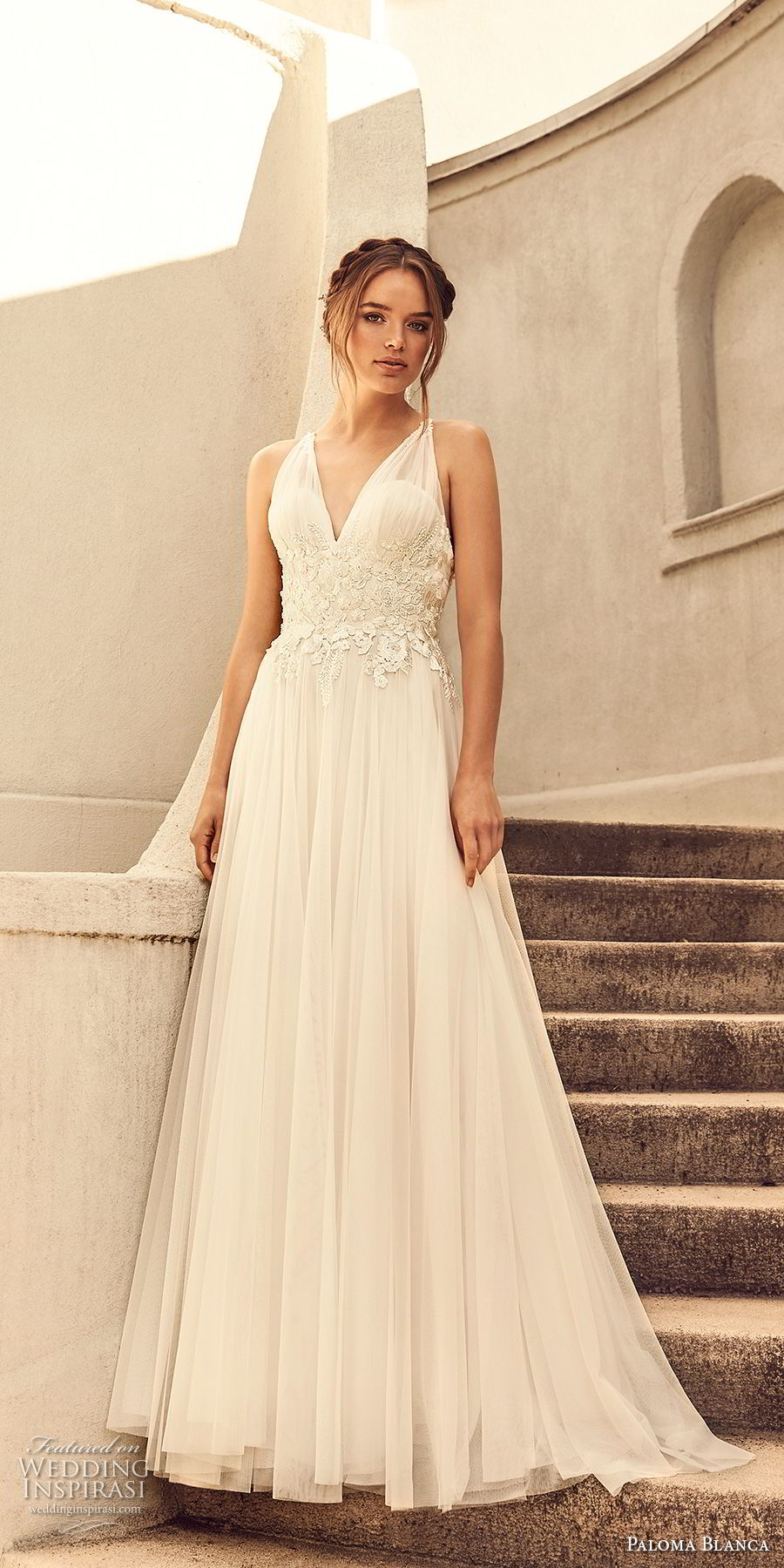 paloma blanca spring 2018 bridal sleeveless v neck heavily embellished bodice romantic soft a  line wedding dress cross strap back sweep train (6) mv
