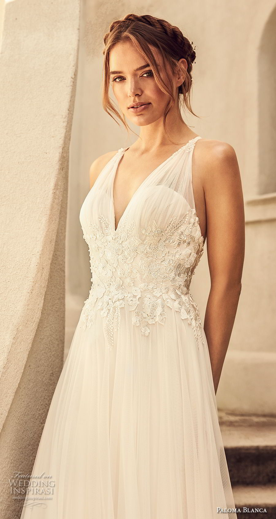 paloma blanca spring 2018 bridal sleeveless v neck heavily embellished bodice romantic soft a  line wedding dress cross strap back sweep train (6) zv