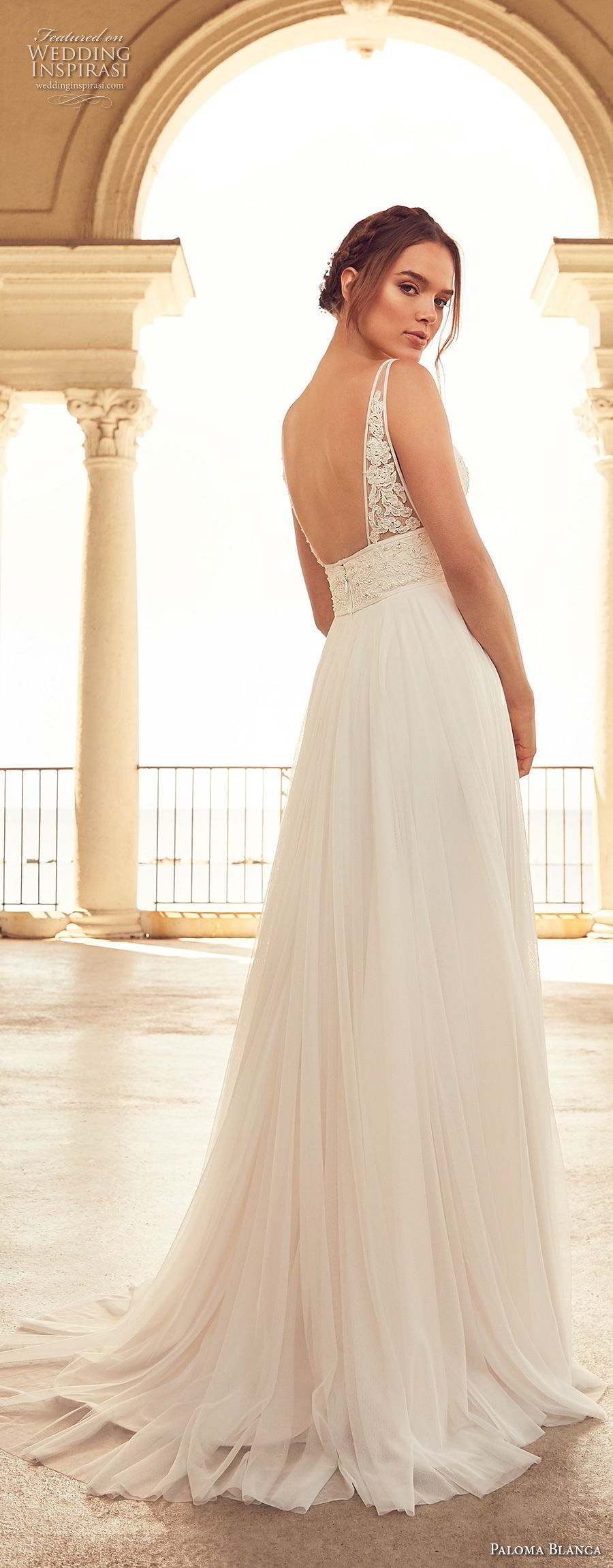 paloma blanca spring 2018 bridal sleeveless v neck heavily embellished bodice romantic soft a  line wedding dress open back sweep train (2) bv