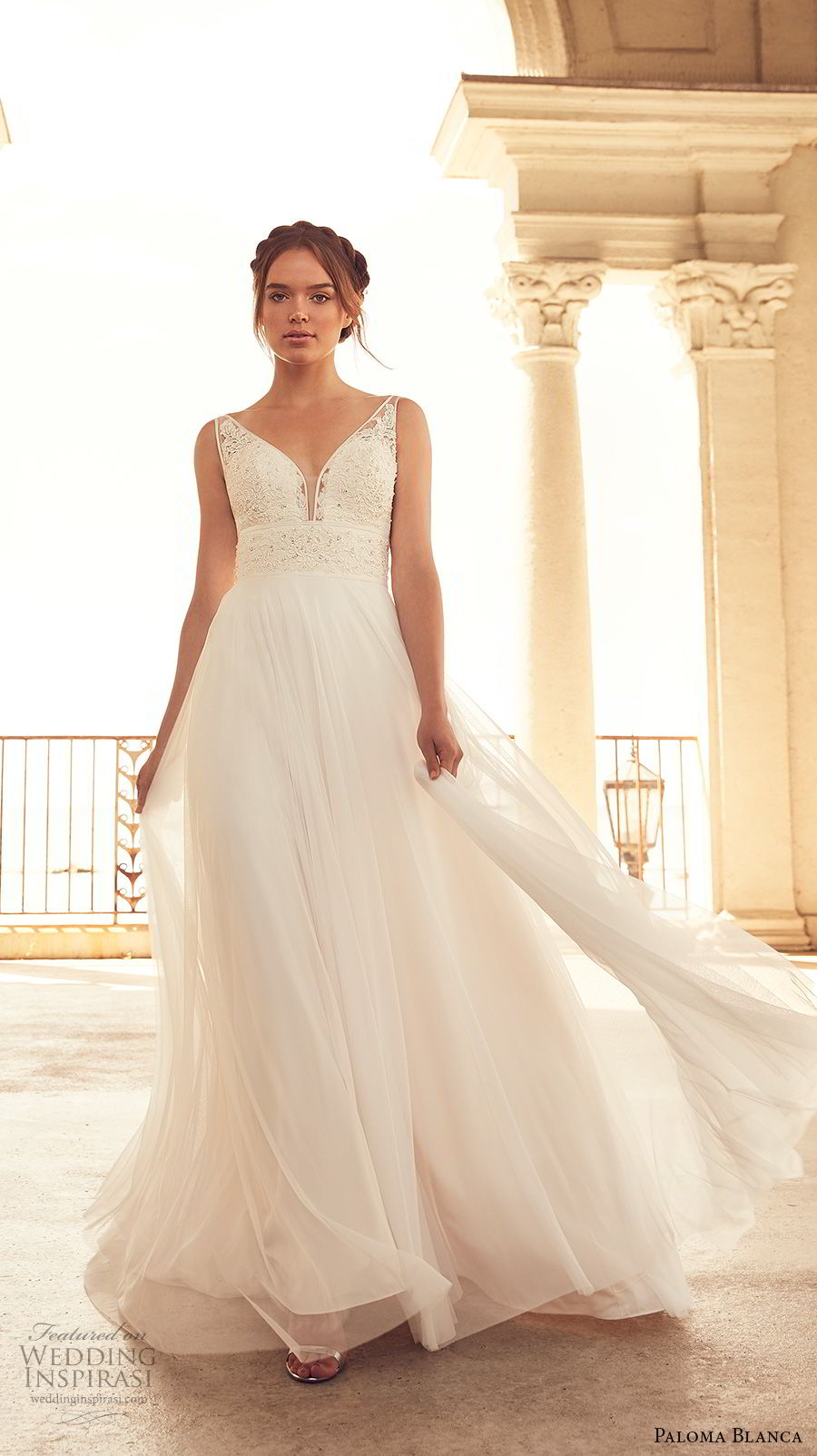 paloma blanca spring 2018 bridal sleeveless v neck heavily embellished bodice romantic soft a  line wedding dress open back sweep train (2) mv
