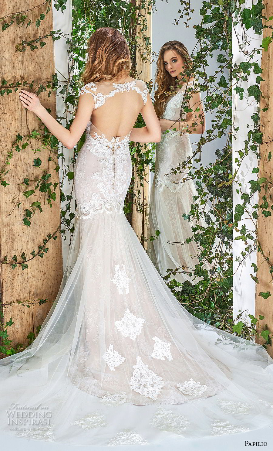 papilio 2018 bridal cap sleeves sheer bateau v neck heavily embellished bodice elegant mermaid wedding dress keyhole back chapel train (11) bv