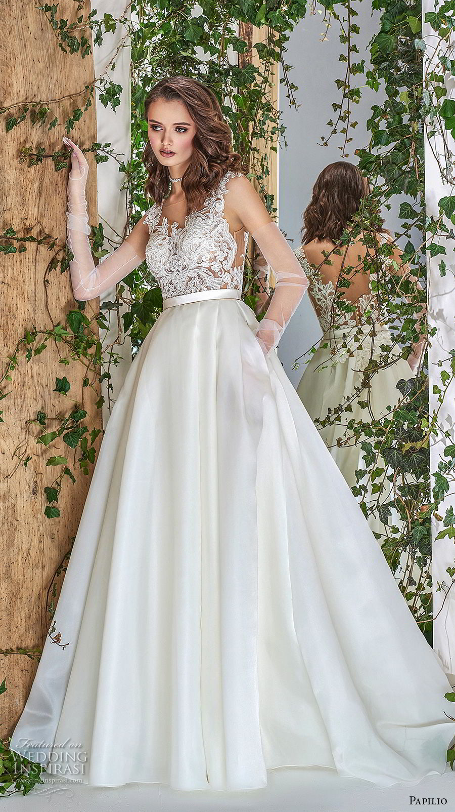 papilio 2018 bridal long sheer sleeves sheer bateau sweetheart neckline heavily embellished bodice romantic a  line wedding dress with pockets scoop back sweep train (4) mv