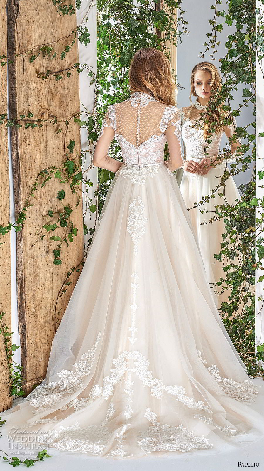 papilio 2018 bridal long sleeves illusion high neck sweetheart neckline heavily embellished bodice hem romantic a  line wedding dress sheer button back chapel train (6) bv