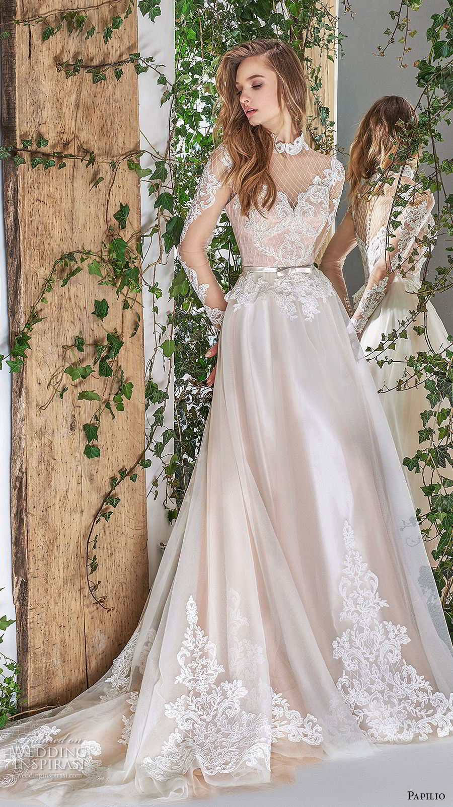 papilio 2018 bridal long sleeves illusion high neck sweetheart neckline heavily embellished bodice hem romantic a  line wedding dress sheer button back chapel train (6) mv
