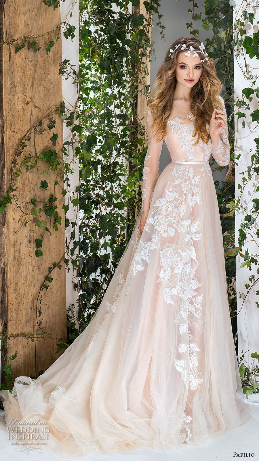 papilio 2018 bridal long sleeves sheer bateau sweertheart neckline full embellishment romantic blush a  line wedding dress chapel train (3) mv