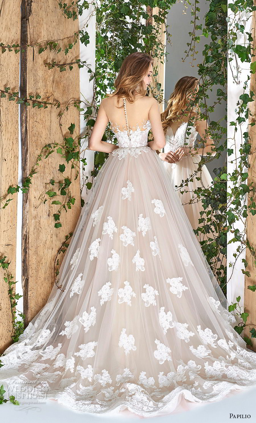 papilio 2018 bridal sleeveless sheer bateau deep sweetheart neckline heavily embellished bodice hem blush a  line wedding dress sheer button chapel train (14) bv