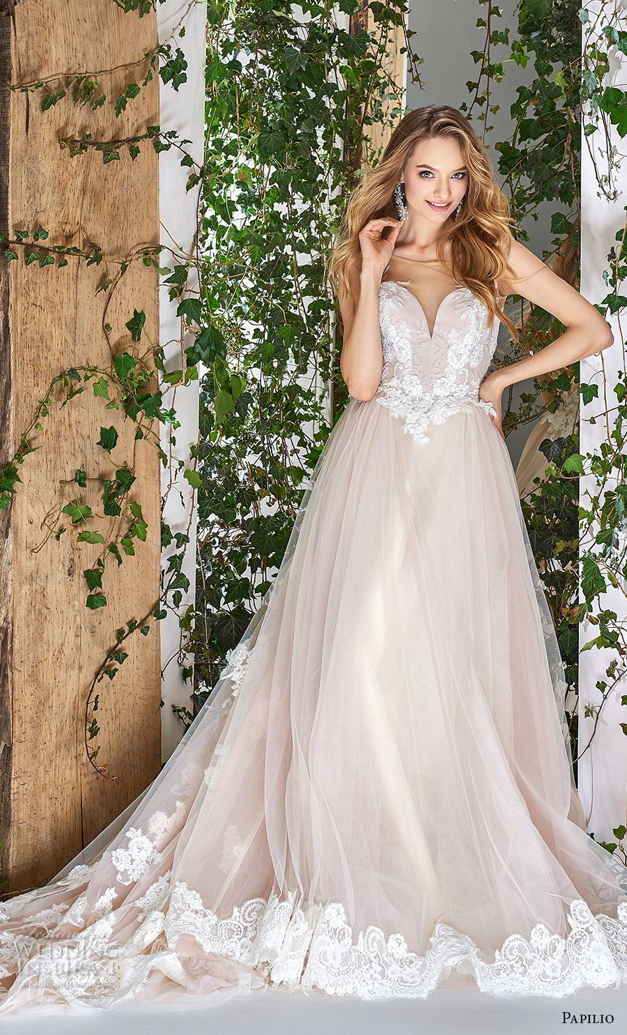 papilio 2018 bridal sleeveless sheer bateau deep sweetheart neckline heavily embellished bodice hem blush a  line wedding dress sheer button chapel train (14) mv