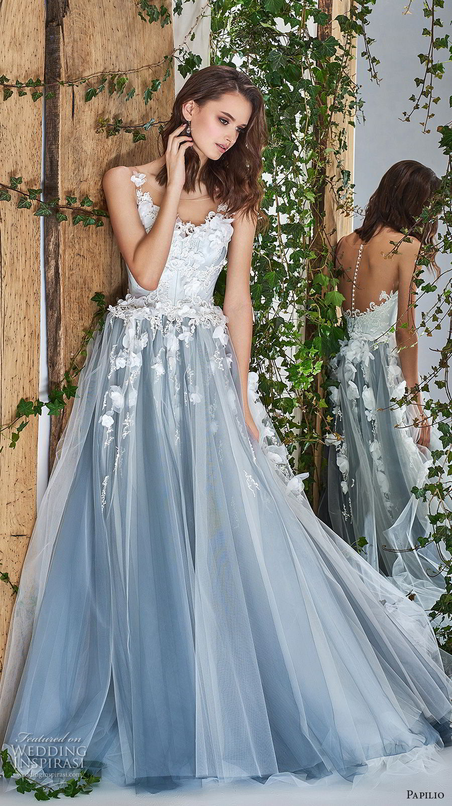 papilio 2018 bridal sleeveless sheer bateau sccoop neck heavily embellished bodice romantic blue a  line wedding dress sheer button back chapel train (5) mv