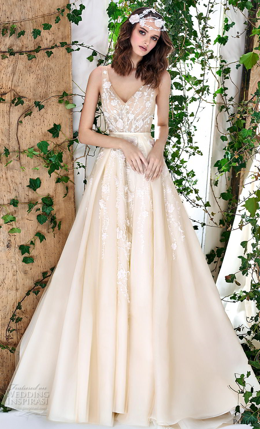 papilio 2018 bridal sleeveless v neck heavily embellished bodice romantic ivory a  line wedding dress with pockets scoop back chapel train (15) mv