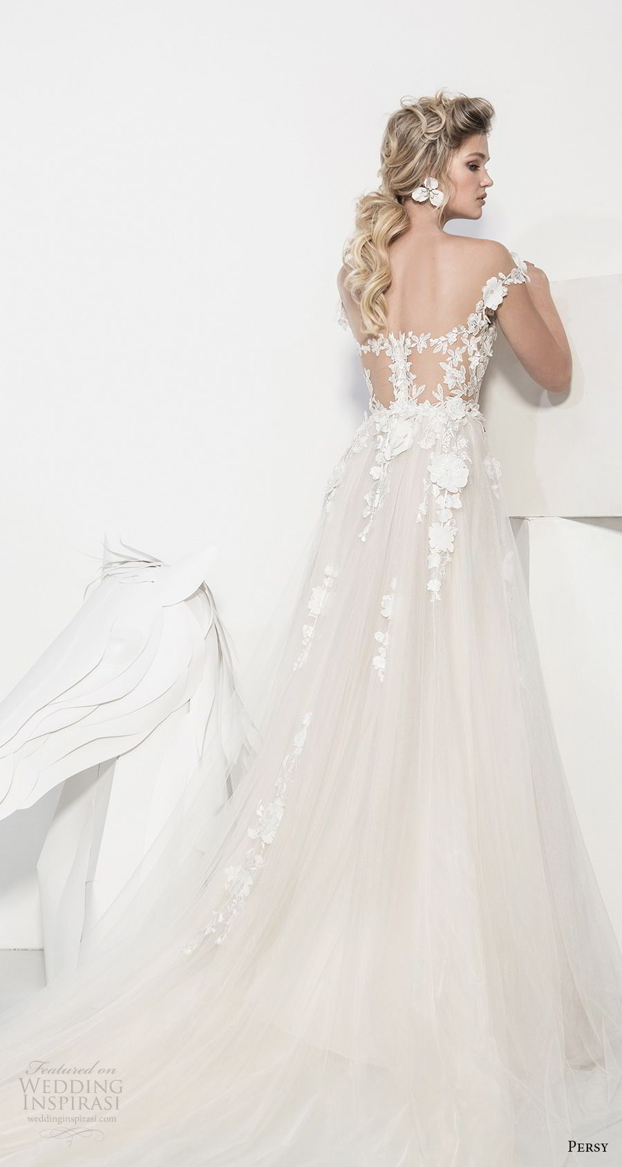 persy couture 2019 bridal cap sleeves sweetheart neckline heavily embellished bodice romantic champagne soft a line wedding dress chapel train (7) bv