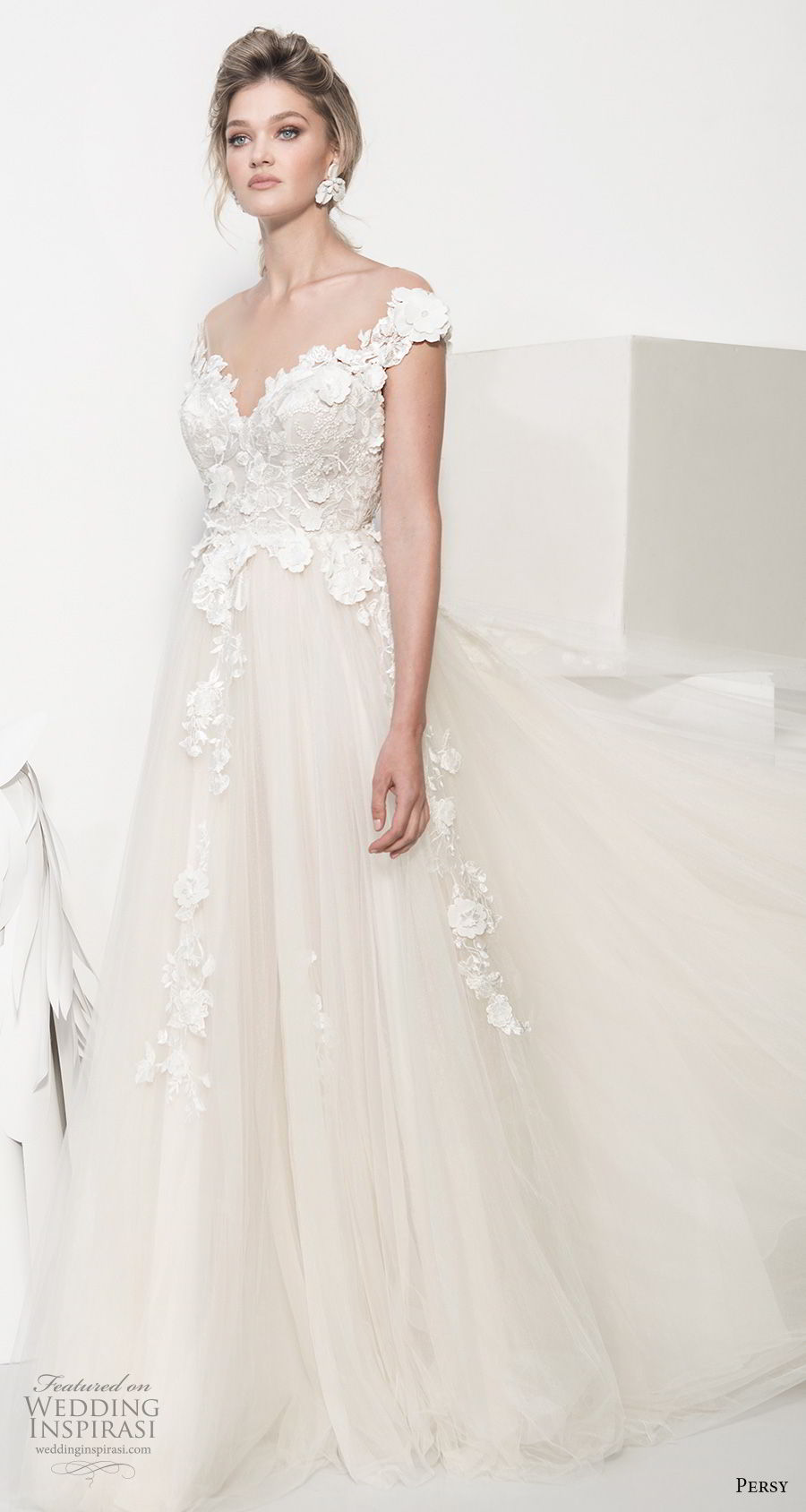 persy couture 2019 bridal cap sleeves sweetheart neckline heavily embellished bodice romantic champagne soft a line wedding dress chapel train (7) mv
